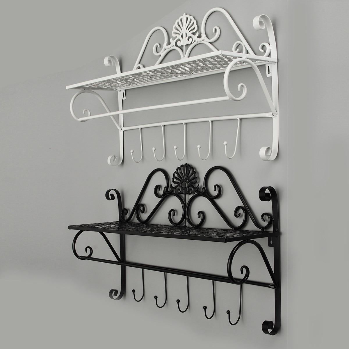 Bathroom storage rack dact bathroom storage rack wrought iron wall towel rack shelf single amipublicfo Choice Image