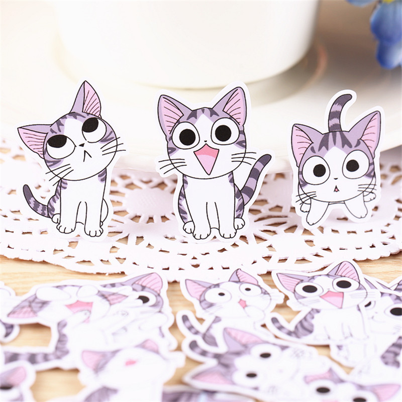 ᗗ38 unids dulce expresión gato etiqueta engomada casera para el ...