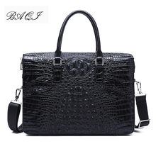 BAQI Men Briefcase Bag Handbags Crocodile Pattern Cow Leather Man Shoulder Messenger Bag Password Lock Men Computer Business Bag