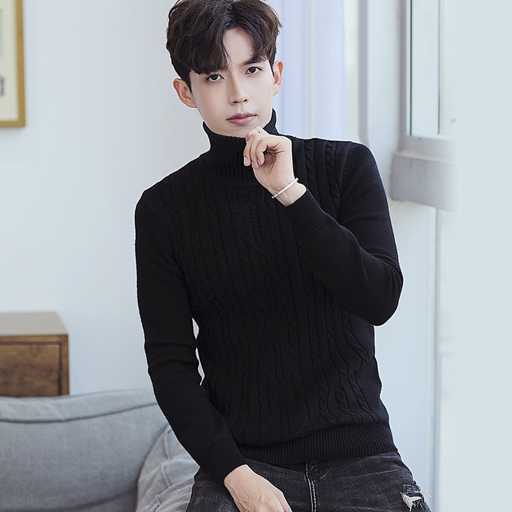 Men 39 s Turtleneck Sweater 2018 New Autumn Winter Solid Color Black White Grey Casual Male Warm Slim Knitted Pullovers Sweaters in Pullovers from Men 39 s Clothing