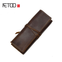 AETOO The first layer of leather kit wallet men and women common vertical section retro rope belt multi-function pocket leather