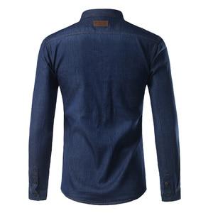 Image 5 - New Men Jeans Blue Shirt Chemise Homme 2017 Fashion Flip Pockets Mens Slim Fit long Sleeve Denim Shirts Camisa Masculina