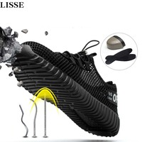 2018 New men Fashion Safety   Shoes   Breathable flying woven Anti-smashing steel- toe caps Anti-piercing Deodorant mens work   Shoes