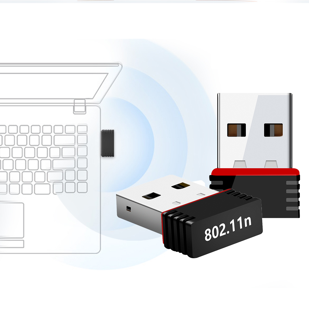 2pcs/lot Mini Wireless USB Wifi Adapter 2.4GHz WLAN Network Card 150Mbps Network Receiver For Laptop PC Windows XP