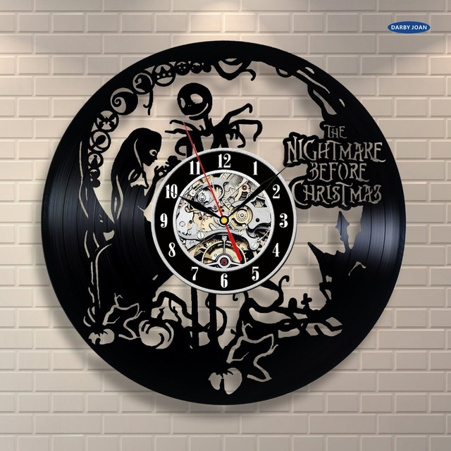 the nightmare before christmas vinyl record wall clock decorate your home with modern art saat - Nightmare Before Christmas Clock