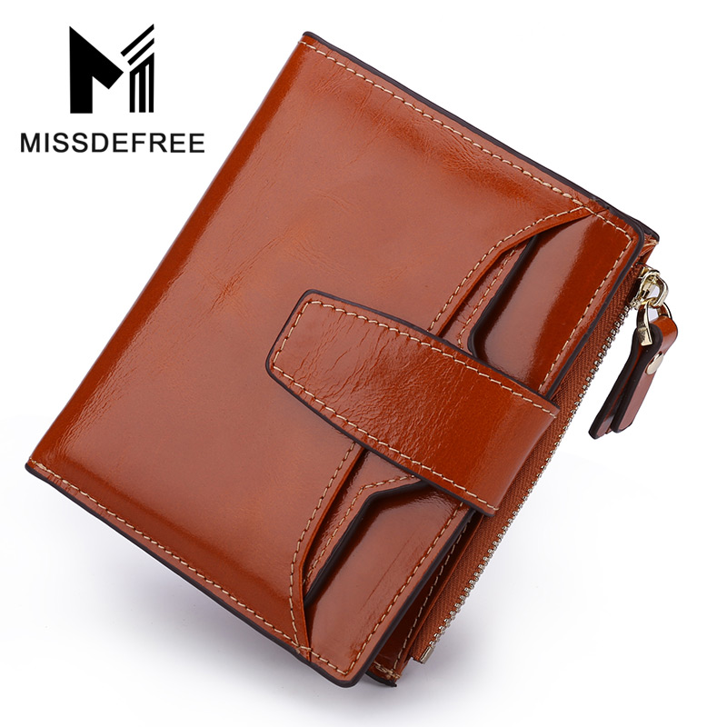 Oil Wax Leather Women Wallet Ladies Vintage Zippers Hasp Small Bifold Purses  Cowhide Female Detachable Separable Card HolderOil Wax Leather Women Wallet Ladies Vintage Zippers Hasp Small Bifold Purses  Cowhide Female Detachable Separable Card Holder