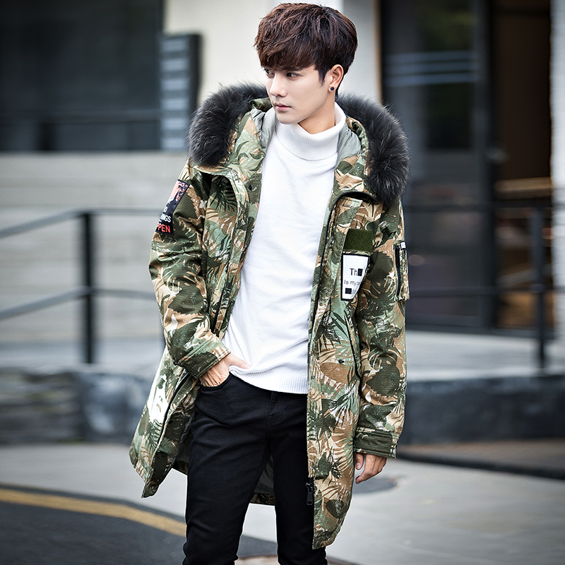 Batmo 2019 new arrival winter 80% grey duck down camouflage hooded jackets men,men's winter warm long coat  5576