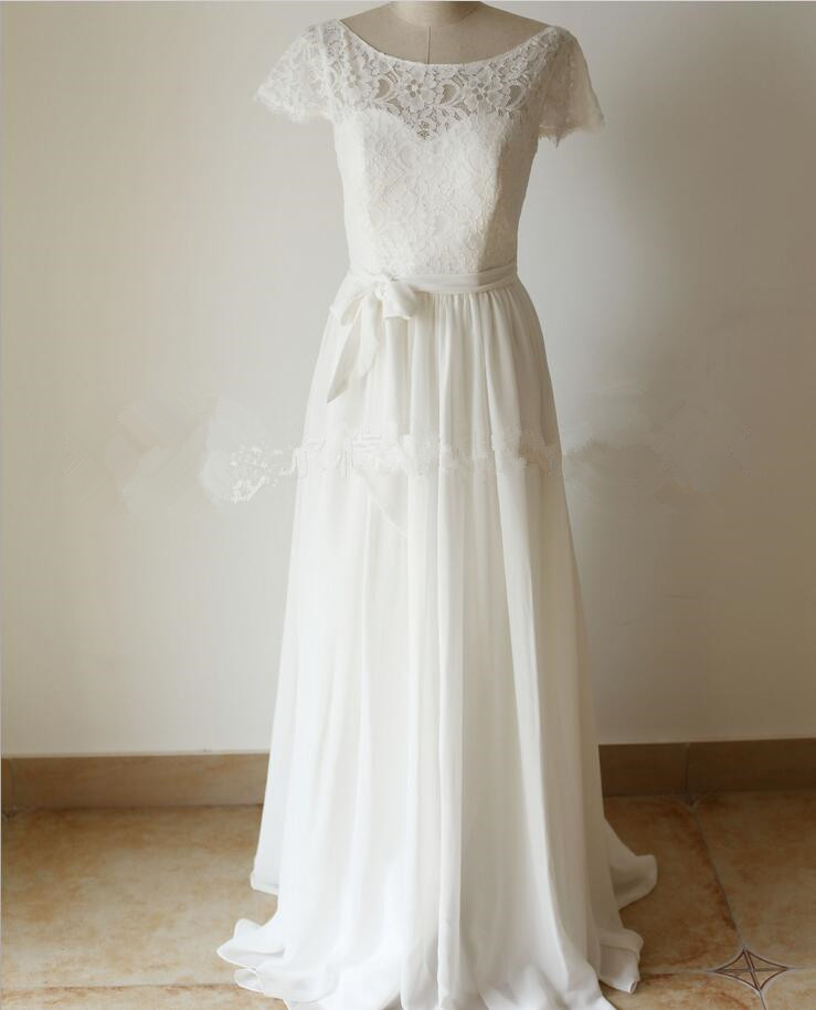 2017 bohemian wedding dress lace chiffon scoop neck criss for Cross back wedding dress