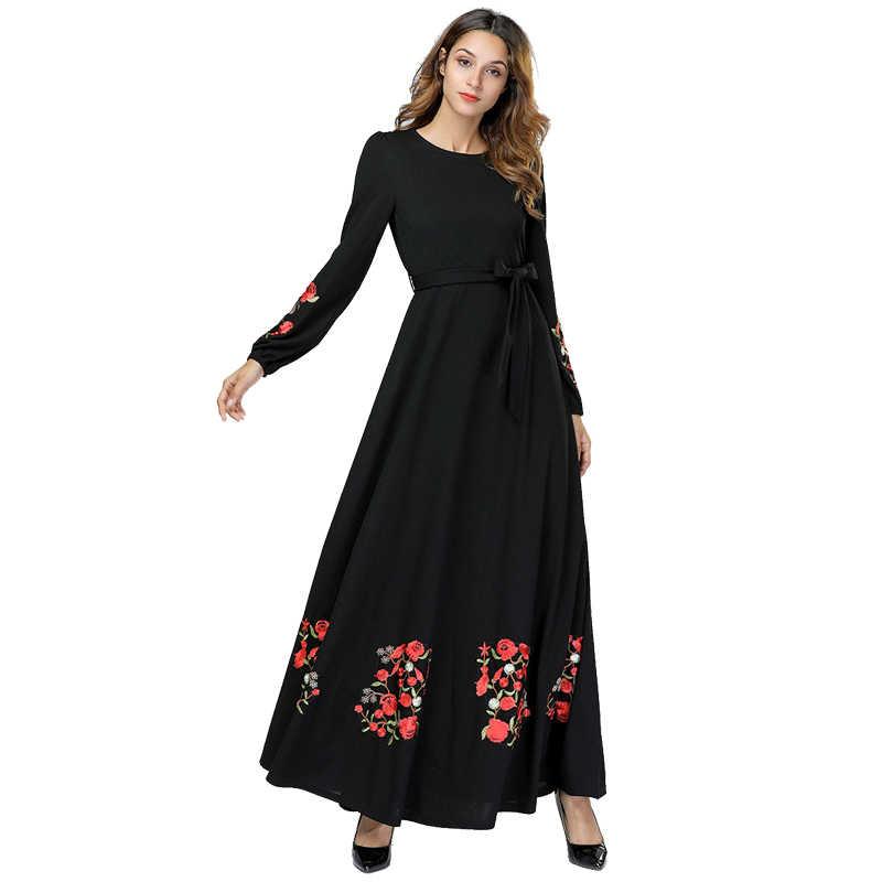 Черный Vestidos кафтан арабский абайя Дубай хиджаб женские мусульманские платья Elbise турецкая исламская Костюмы одеяние мусульмане длинные платья