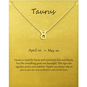 12 Constellation Taurus Pendant Necklace For Women Zodiac Sign Necklace Make a Wish Card Lucky Unique Jewelry For Mom
