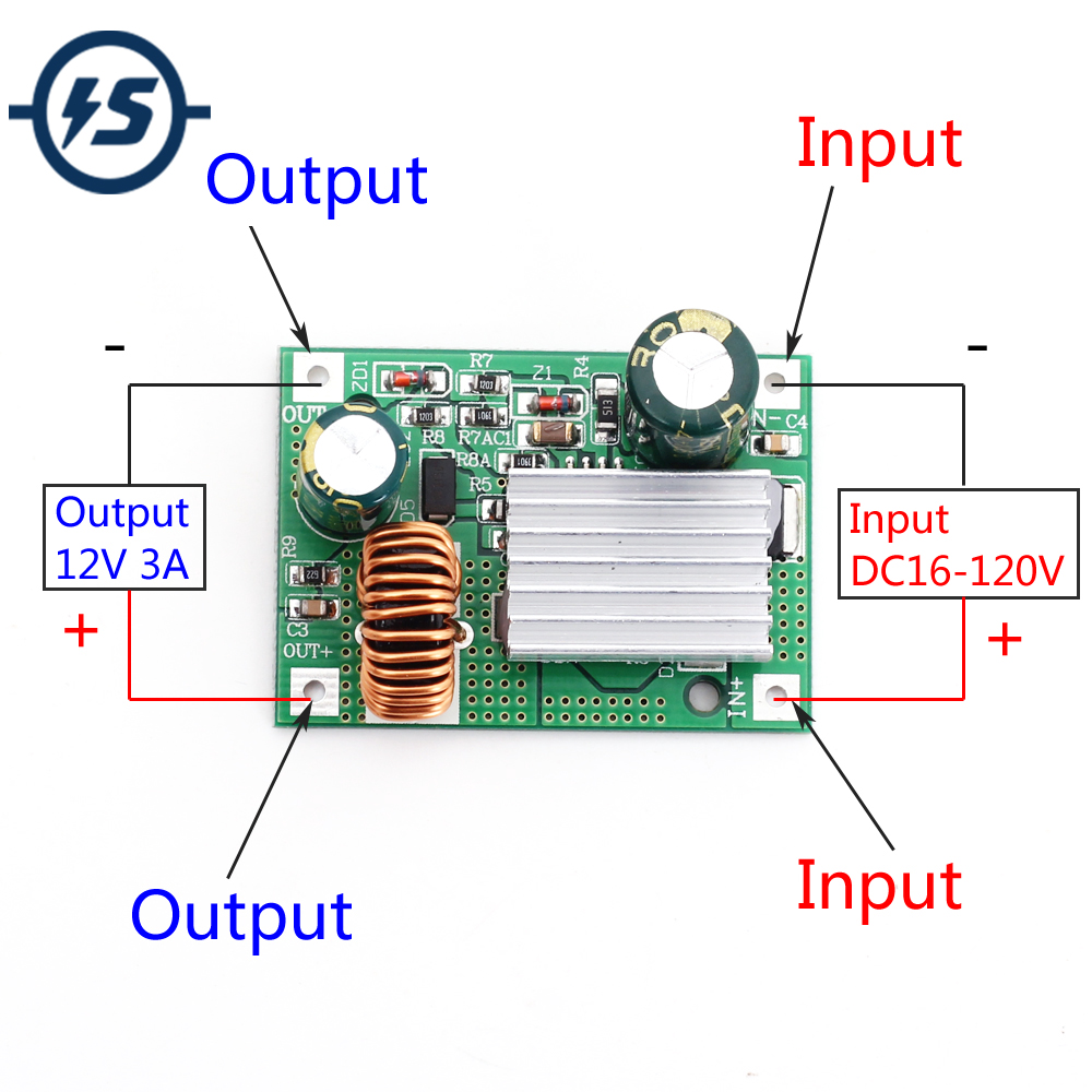 DC-DC 36V~72V 48V 60V to ±12V 24V Step Down Converter Buck Power Supply Module