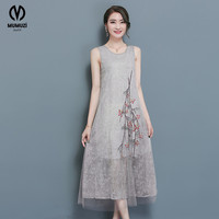 MUMUZI Womens Elegant Summer Floral Flower Embroidery Tunic Casual Party Mesh Slim Fitted Loose Dress 2017