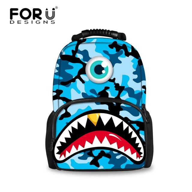 FORUDESIGNS Blue Camouflage Men's Backpack 3D Shark Tooth Printing  Backpacks For Teenager Boys Big Capacity Travel Bagpacks Bags