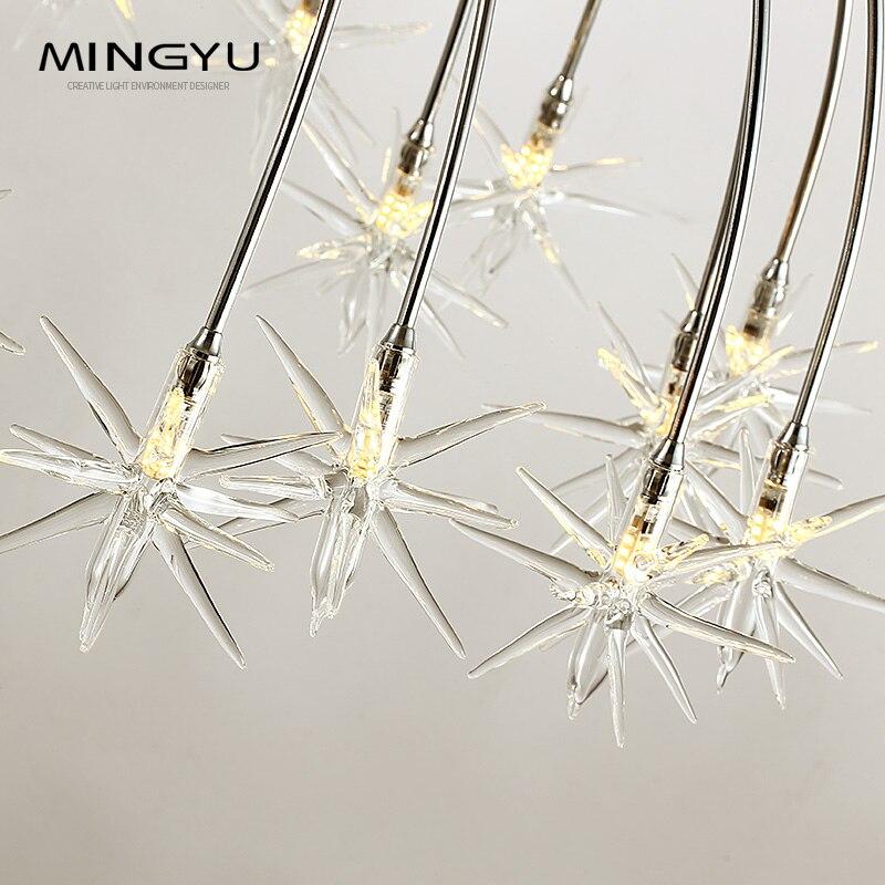 Lustres modernes lampe verre étoiles Suspension noël neige lumière hôtel Restaurant salle à manger salon éclairage - 4