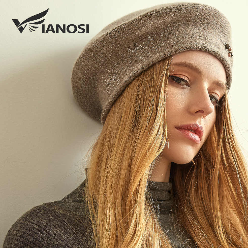 4579cbd768b5d ... VIANOSI Winter Beret Hats for Women Wool Knitted Warm Luxury Pearl Berets  Female Fashion Beanie Caps ...
