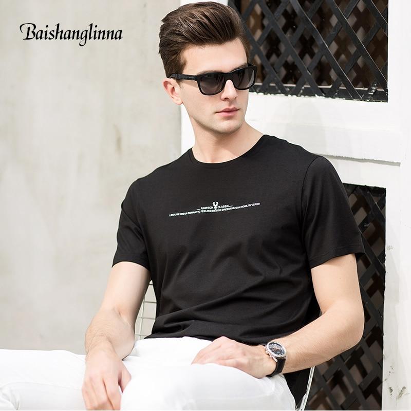 Baishanglinna 2018 zomer nieuwe korte mouw t-shirt mannen puur - Herenkleding