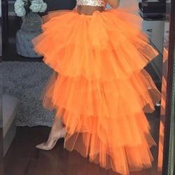 2019 Trendy Orange Rüschen Tiered High Low Tüll Röcke Frauen Elastische Gelb Elastische Lange Tutu Braut Rock Nach Maß Neue