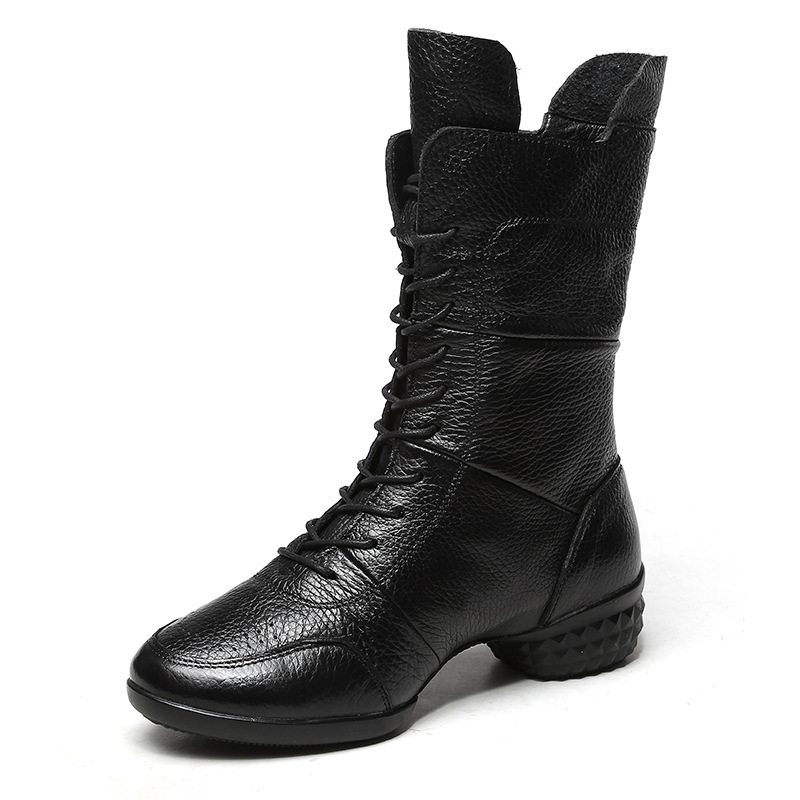ФОТО 2017 New Leather Shoes Women's Dance Soft Bottom Winter Dancing Shoes Breathable Modern Sailor Dance Square Dance Boots