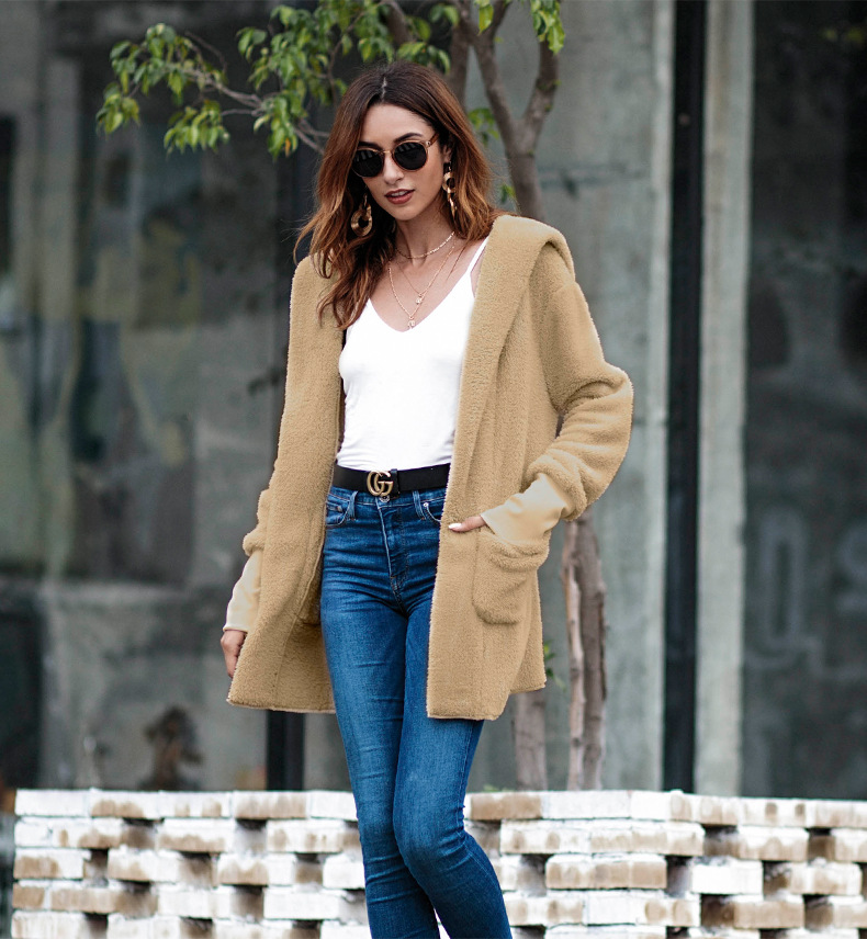 Faux Fur Teddy Bear Coat Jacket Lambswool Women Fashion Open Stitch Cardigan Winter Hooded Coat Female Long Sleeve Fuzzy Jacket