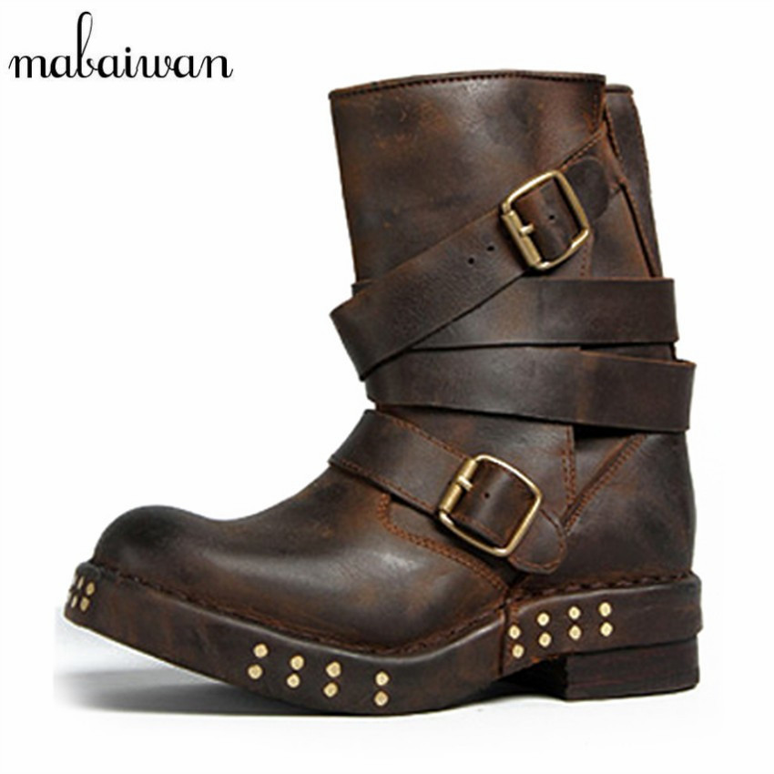 Mabaiwan Punk Style Women Ankle Boots Black Brown Genuine Leather Square Toe Flat Booties Straps Botas Militares Martin Boot women martin boots 2017 autumn winter punk style shoes female genuine leather rivet retro black buckle motorcycle ankle booties