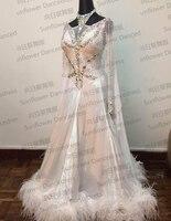 NEW standard dance dress,ballroom dance competition dresses,womens girls dance dresses,modern dance skirts,white color