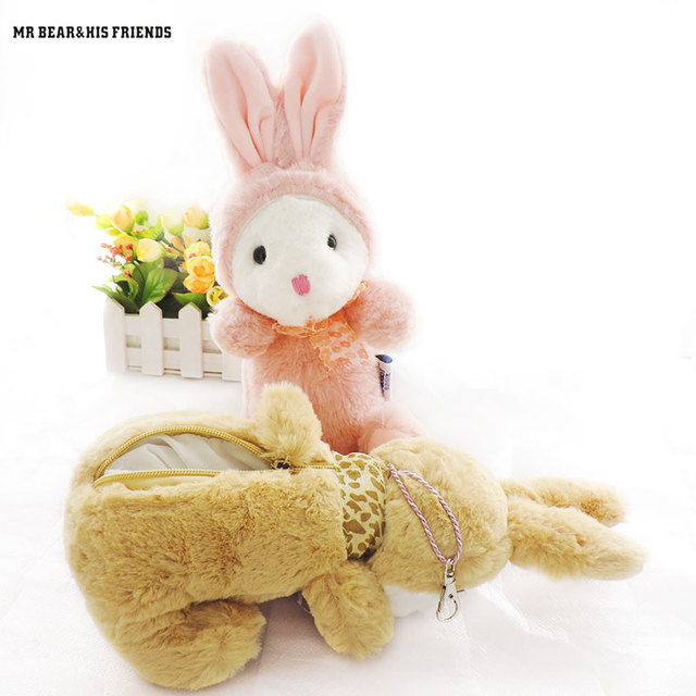 Kawaii Stuffed Hewan Kelinci Mewah Tas Dompet Boneka Kelinci Kelinci  Peluche Boneka Mainan untuk Anak Anak 6665af8a45