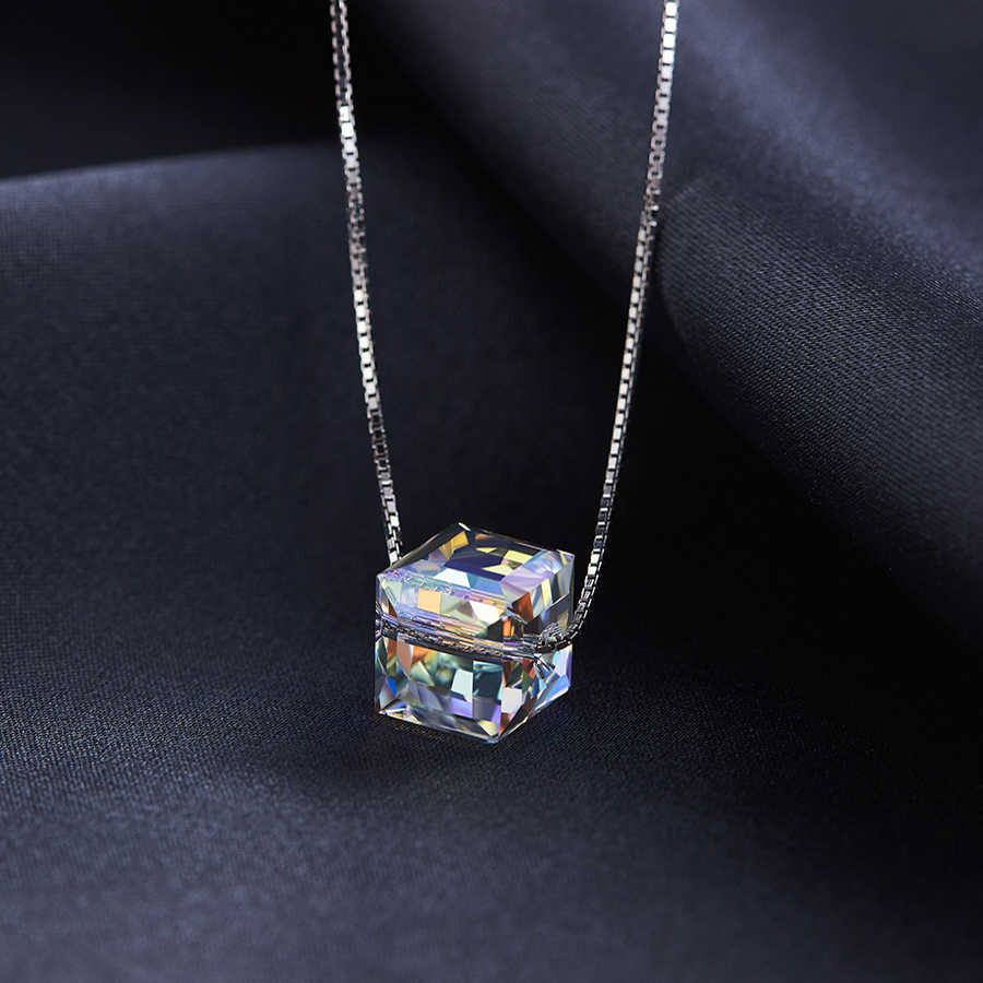 BAFFIN Crystals From Swarovski Colorful Cube Beads Necklace Pendants Silver Color Chain Necklaces For Women Wedding Chic Gift