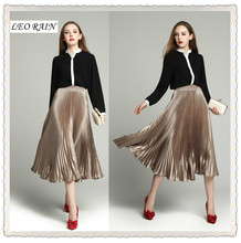 2017 spring and summer new women's fashion elegant high-end silk long pleated skirt