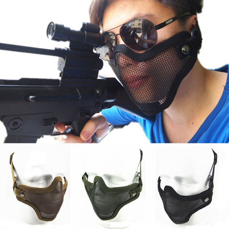 Tactical Half Face Mask Protective Steel Wire Mesh Skull Mask Airsoft Hunting