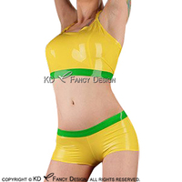 Yellow With Apple Green Trims Sexy Halter Latex Shirt Top And Rubber Boy Shorts Underwear Briefs Clothes Clothing YF 0135