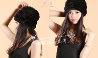 Mink hair hat yarn small flower cap Women hair knitted mink fur hat winter