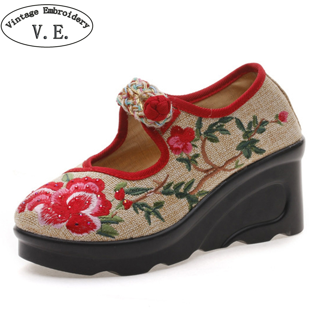Women Pumps Flowers Embroidered Linen Wedge Mary Jane Pumps Ladies Casual High Heel Platforms Shoes Woman Zapatos Mujer vintage women flats old beijing mary jane casual flower embroidered cloth soft canvas dance ballet shoes woman zapatos de mujer