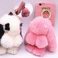 Precioso invierno caliente bling conejo cubierta suave para iphone 6 6 s plus 7 7 más Peludo Muñeca Conejo De Peluche de Piel Bolsas Móvil Casos de Coque Funda