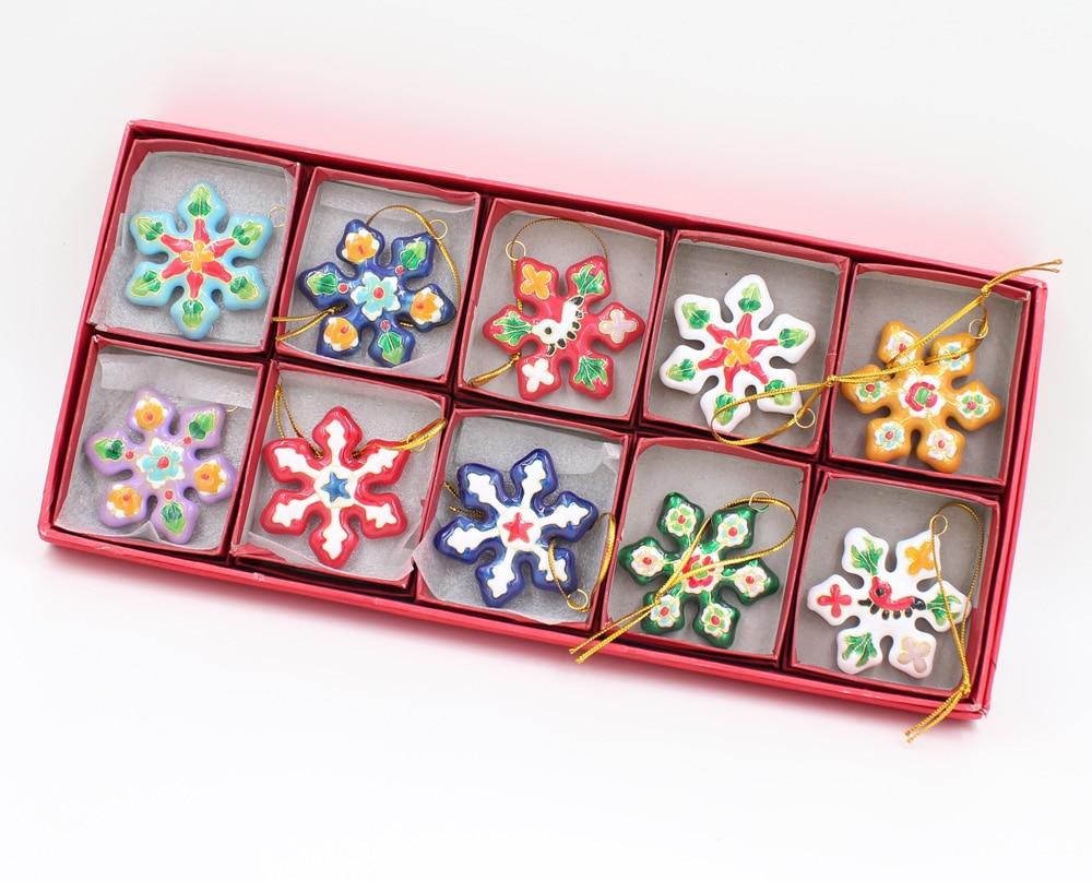 Wholesale10pcs Chinese Retro Fashion Handmade Colorful Snow Flake Cloisonne Enamel Pendant Christmas Decoration