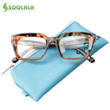 SOOLALA New Square Reading Glasses Women Men Eyeglasses Frame Clear Lens Presbyopia +0.5 0.75 1.0 1.25 to 4.0