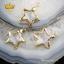 10PCS Star Shaped Bezel Glass Pendants Crafts Earrings,35mm Faceted Clear Glass Plated Gold Edged Charms Necklace Wholesale YT30