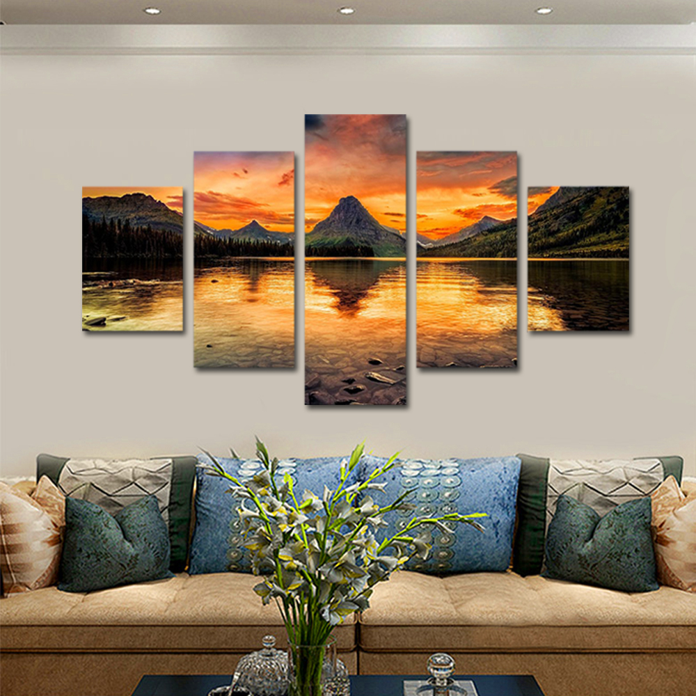 Unframed Canvas Painting Sunset Mountain Clear River Landscape Photo Prints Wall Pictures For Living Room Wall Art Decoration