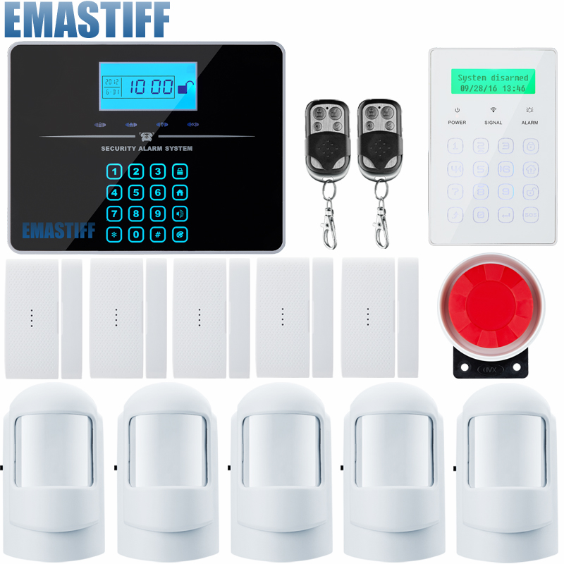 GSM Alarm System LCD Android IOS APP Touch keypad Android ISO App Smart Home Burglar Alarm System DIY Motion Sensor new smart gsm wifi alarm system gprs touch keypad ios android app controlled home security alarm system with new alarm sensors