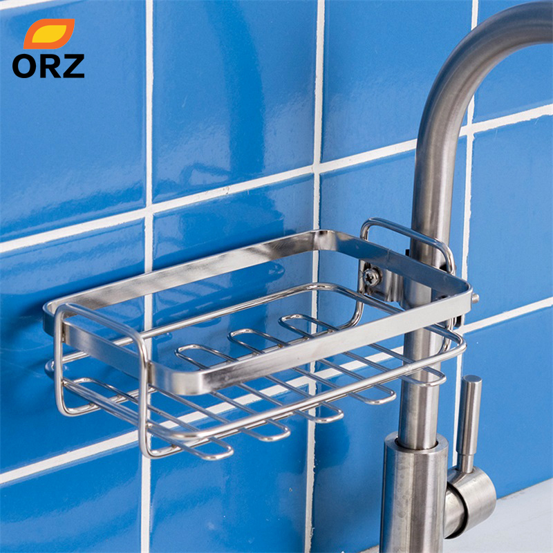 ORZ Stainless Steel Home Storage Accessories Kitchen Sink Drainer Organizer Faucet Sponge Holder Bathroom Faucet Storage Rack