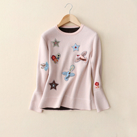 Appliques Embroidery Sweater 2017 Autumn Winter Women Knitted Sweater Double Layers Contrast Color Sweater Pullovers M