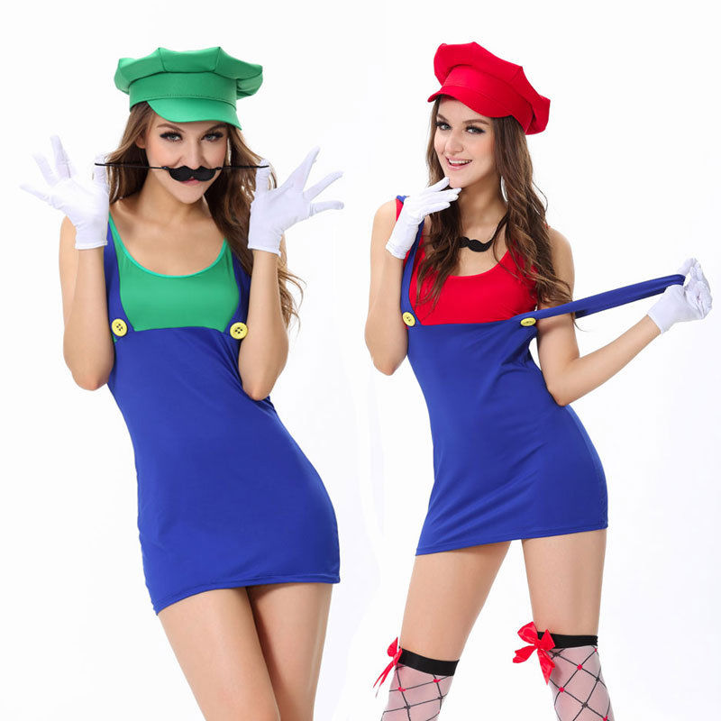 vocole sexy women super mario luigi bros halloween cosplay costume jumping plumber mini fancy dress costumes with hat m l xl in game costumes from novelty