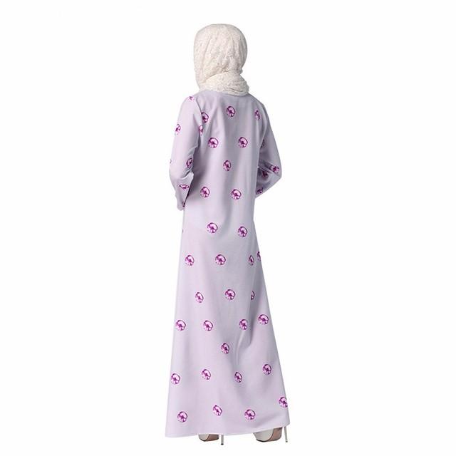 Floral Printed Kaftan Abaya Muslim Women Long Sleeve Ethnic Saudi Turkish Style Floor-Length Islamic Hijab Arab Fashion Dress