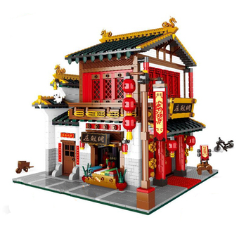 Street View Chinese Street Series Building Blocks The Yi-hong courtyard Set Pubs Assembly Model architecture toy educational toy