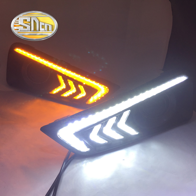 SNCN LED Daytime Running Light For Honda City Grace 2015 2016,Car Accessories Waterproof ABS 12V DRL Fog Lamp Decoration sncn 24w 14w led multifunctional led fog lamp for honda city 2014 2015 2016 with drl daytime running lights