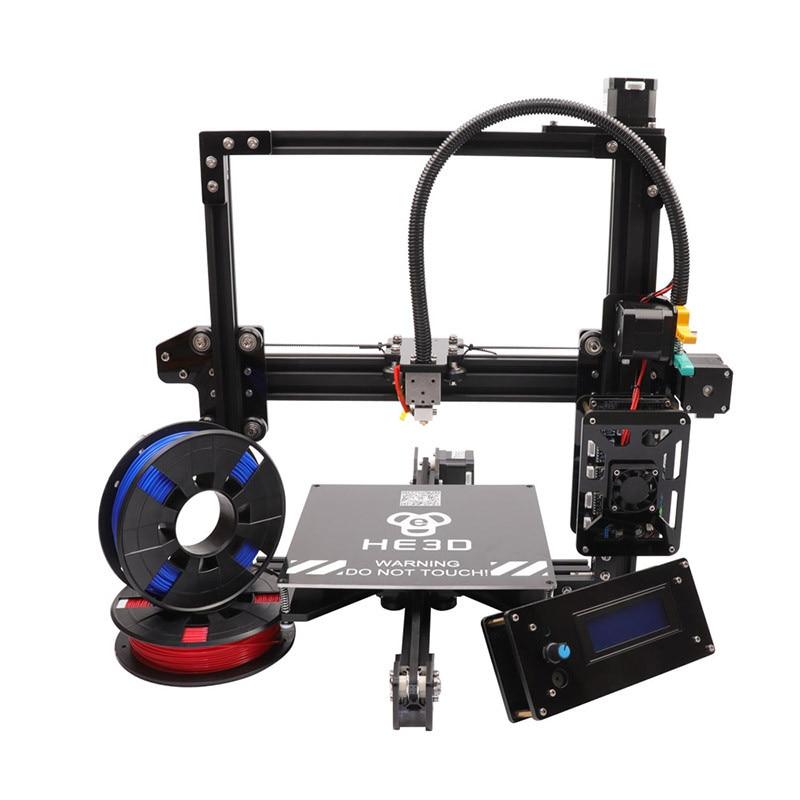 Le Plus Récent HE3D EI3 En Aluminium D'extrusion 3D kit imprimante imprimante 3d impression 2 Rolls Filament 8 GB SD carte LCD Comme cadeau