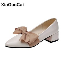 Classic Women Shoes Spring Autumn Female Pumps Pointed Toe Bowknot Mature Ladies Footwear Shallow Retro Office Sandals Newest