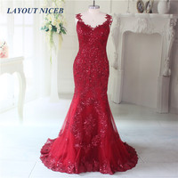 New Arrival 2015 Seductive Red Lace Mermaid Evening Dress Long Formal Gowns Lace Up Robe De