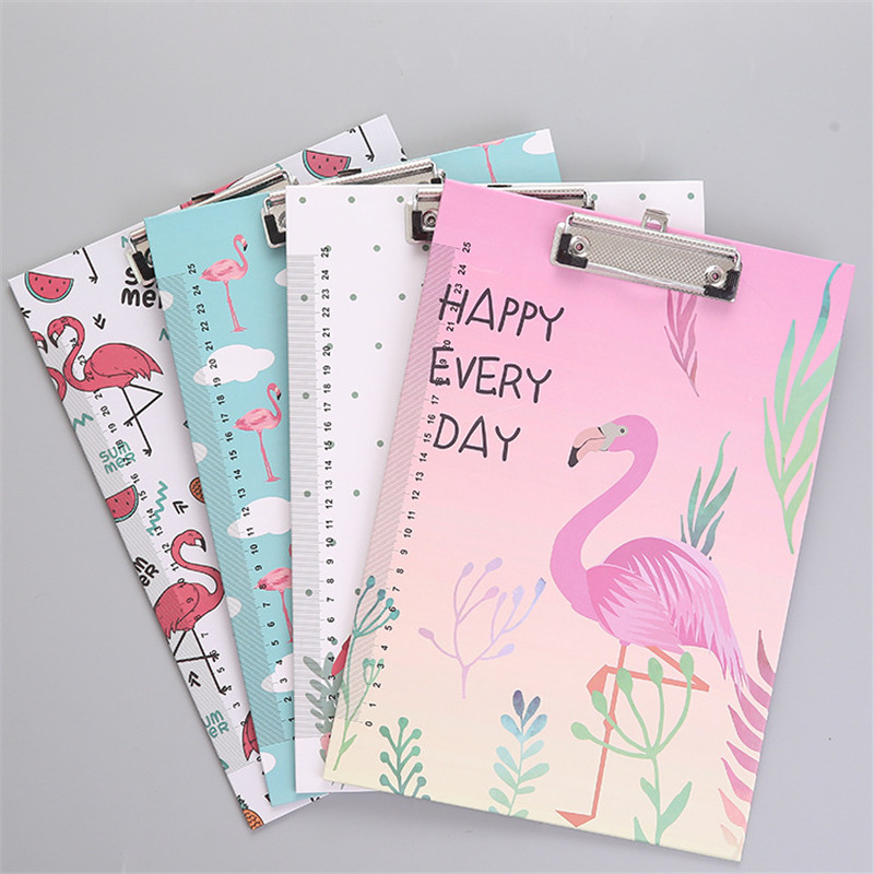 Cute A4 File Folder Paper Kawaii Cartoon Tower Flamingo Document Bag With Clip Filing Products Office School Stationery Pouch