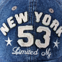 "Old Style ""New York"" Lettering Pre-washed Denim Baseball Cap"