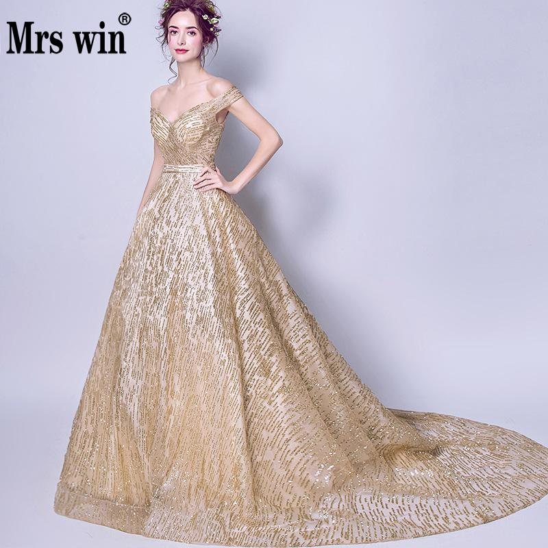 Mrs Win New Gorgeous Shining Evening Dress Sexy Boat Neck Golden Bride Dinner Toast Long Section Banquet Dress Vestido Festa L